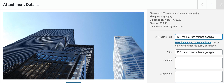 alt tag optimize images for commercial real estate